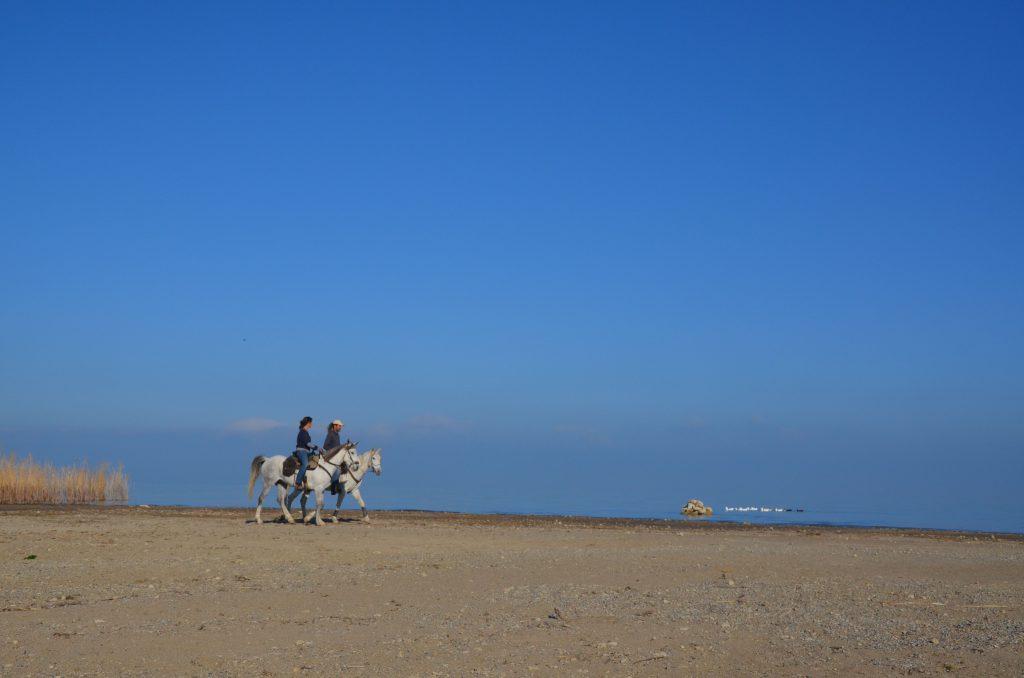 Paardrijden op het strand in Turkije