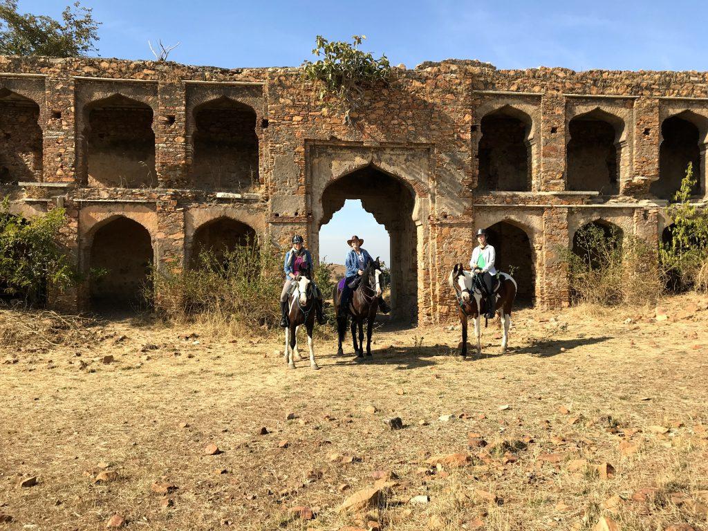 Paarden voor tempel in India