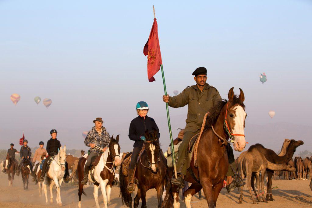 Paarden bij de Pushkar Kamelen markt
